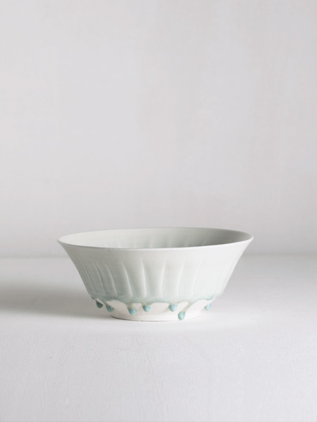 fluted bowl with celadon glaze