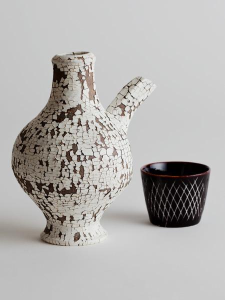 engraved sake cup (with cracked slip sake server)