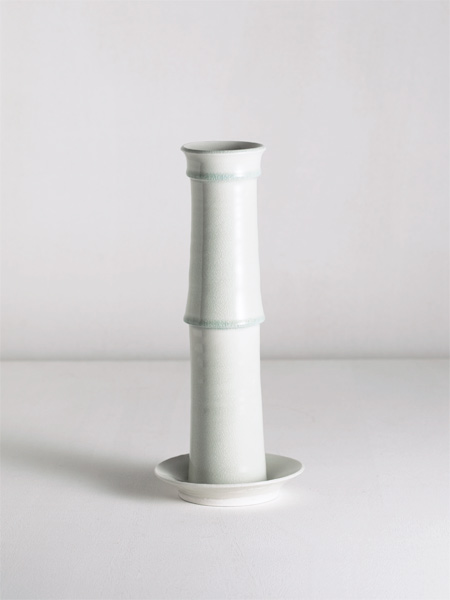 cylinder and plate vase with celadon glaze