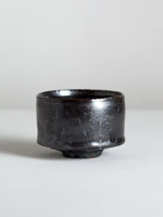 german chawan with metallic tenmoku glaze