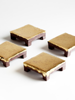 square golden chocolate plates