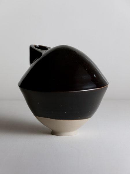black turtle vase