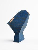 blue and orange cracked slip vase