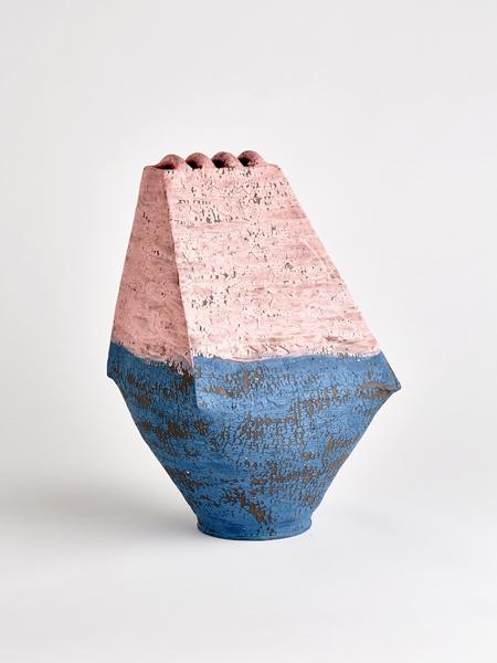 indigo grid vase pink