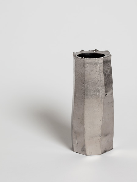 faceted platinum wall vase