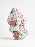 white and pink cracked slip vase